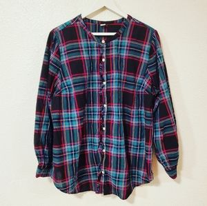Old Navy Plaid Ruffle Button Down Long Sleeves Top